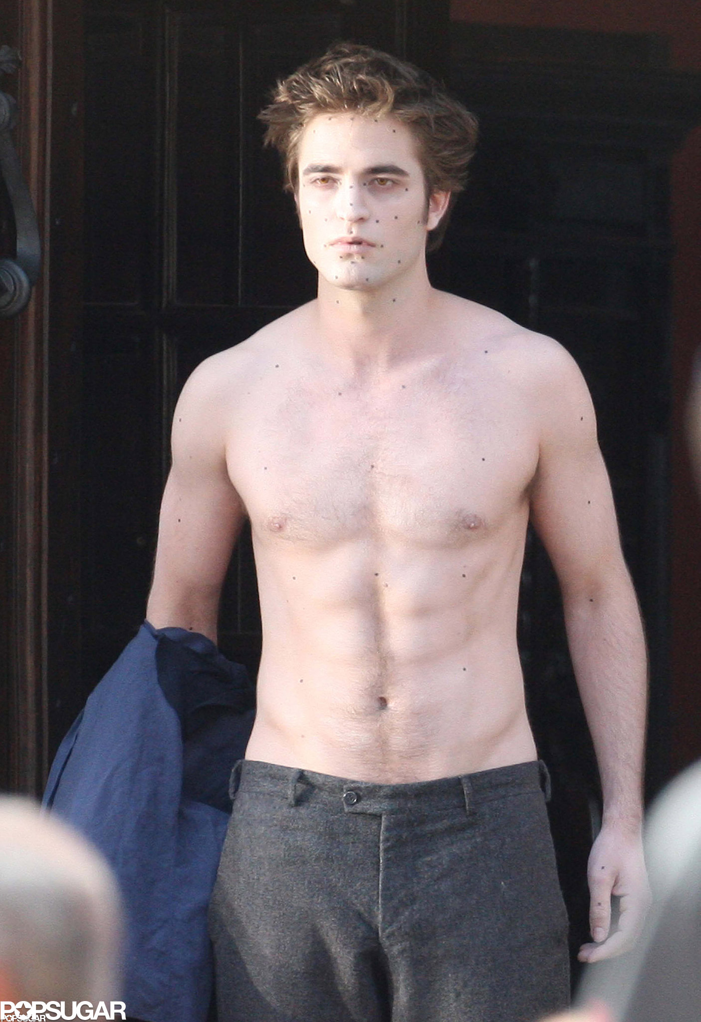 Robert Pattinson went shirtless for the cameras while in Italy for New Moon in May 2009.