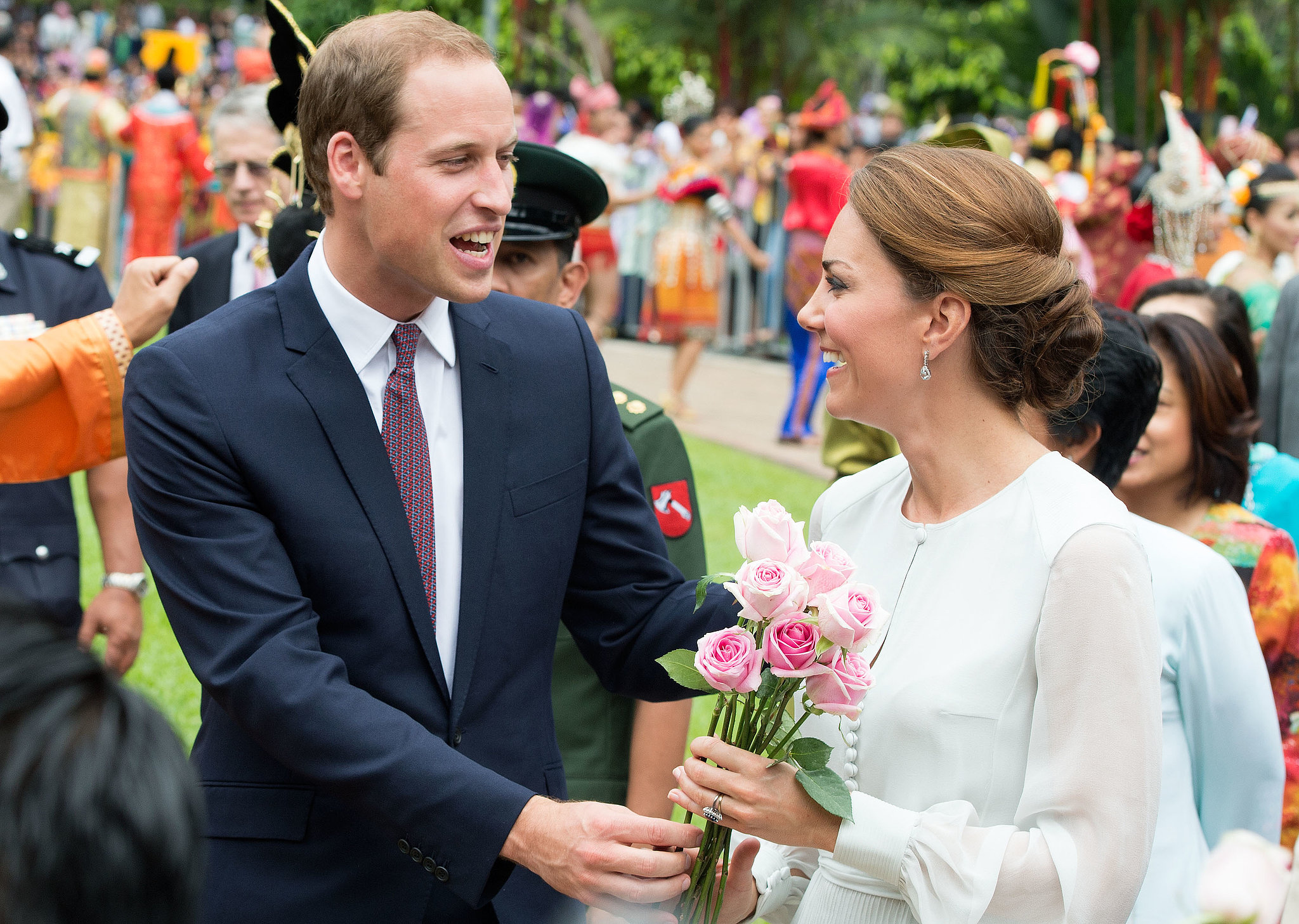 In September 2012, William presented Kate with flowers during stop in Kuala Lumpur.