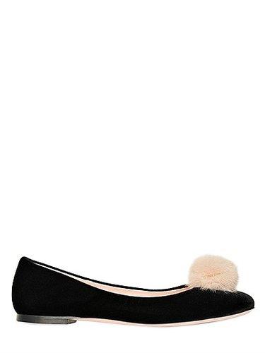 10mm Velvet & Mink Ballerina Flats