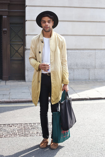 We'd like to steal this guy's coat and moccasins for a perfectly dressed-down take on denim.
