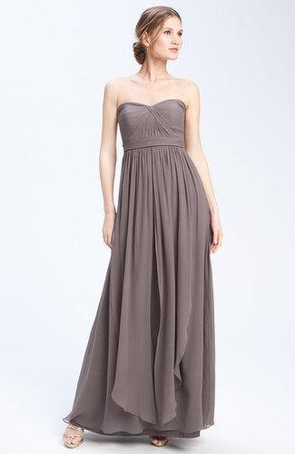 Long Strapless Chiffon Evening Dress