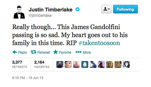 Justin Timberlake was one of many stars to tweet their shock and sadness at James Gandolfini's passing.
