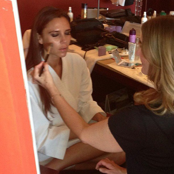 Victoria Beckham got her makeup done for an event in China. Source: Instagram user victoriabeckham