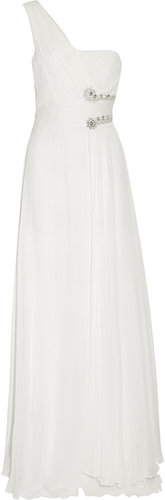 Notte by Marchesa Embellished draped silk-georgette gown