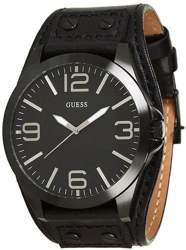 GUESS - U0181G2 (Black Case/Matte Black Dial/Black Smooth Leather Cuff) - Jewelry