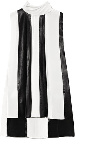 Preorder Thakoon Sleeveless Leather Combo Pleated Blouse