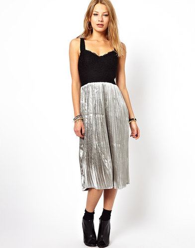 Motel Dress With Metallic Pleated Skirt