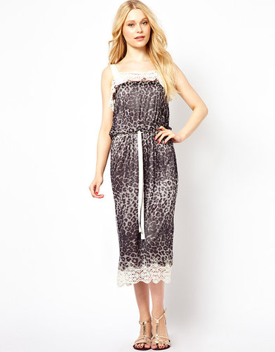 Traffic People Leopard Print Midi Dress