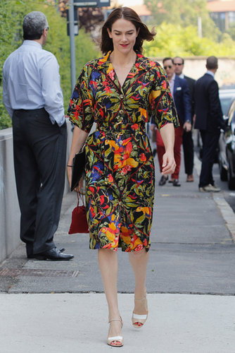 Her easy shirtdress got ample personality with this standout print.