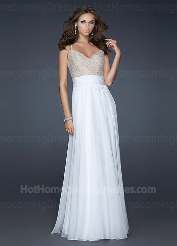 Cheap White Long Spaghetti Strap Embellished Bodice Homecoming Dress