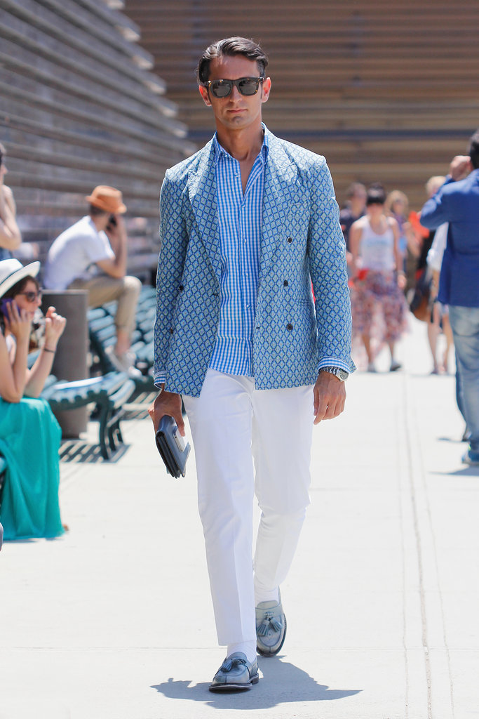 One very dapper dude gave white pants a polished finish with a blue button-down and blazer.