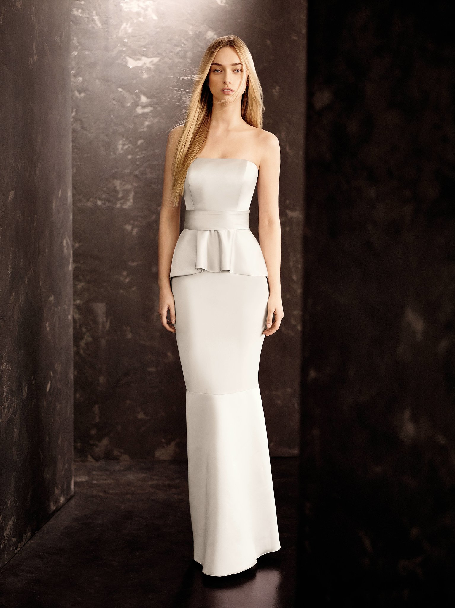 satin and matte crepe peplum dress with satin sash 178