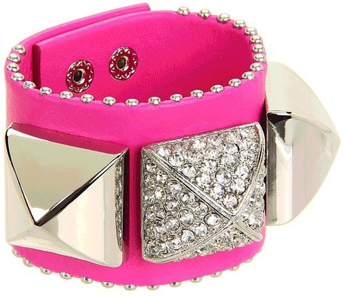Juicy Couture - Perfectly Gifted Pave Pyramid Leather Cuff Bracelet (Bright Cerise) - Jewelry