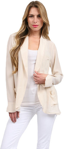 Gold Hawk Shawl Collar Jacket in Wheat/Pure White