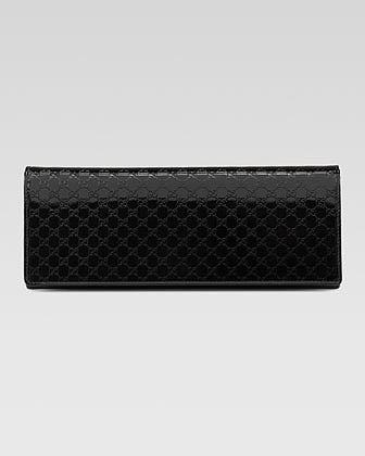 Gucci Broadway Microguccissima Patent Leather Evening Clutch, Black