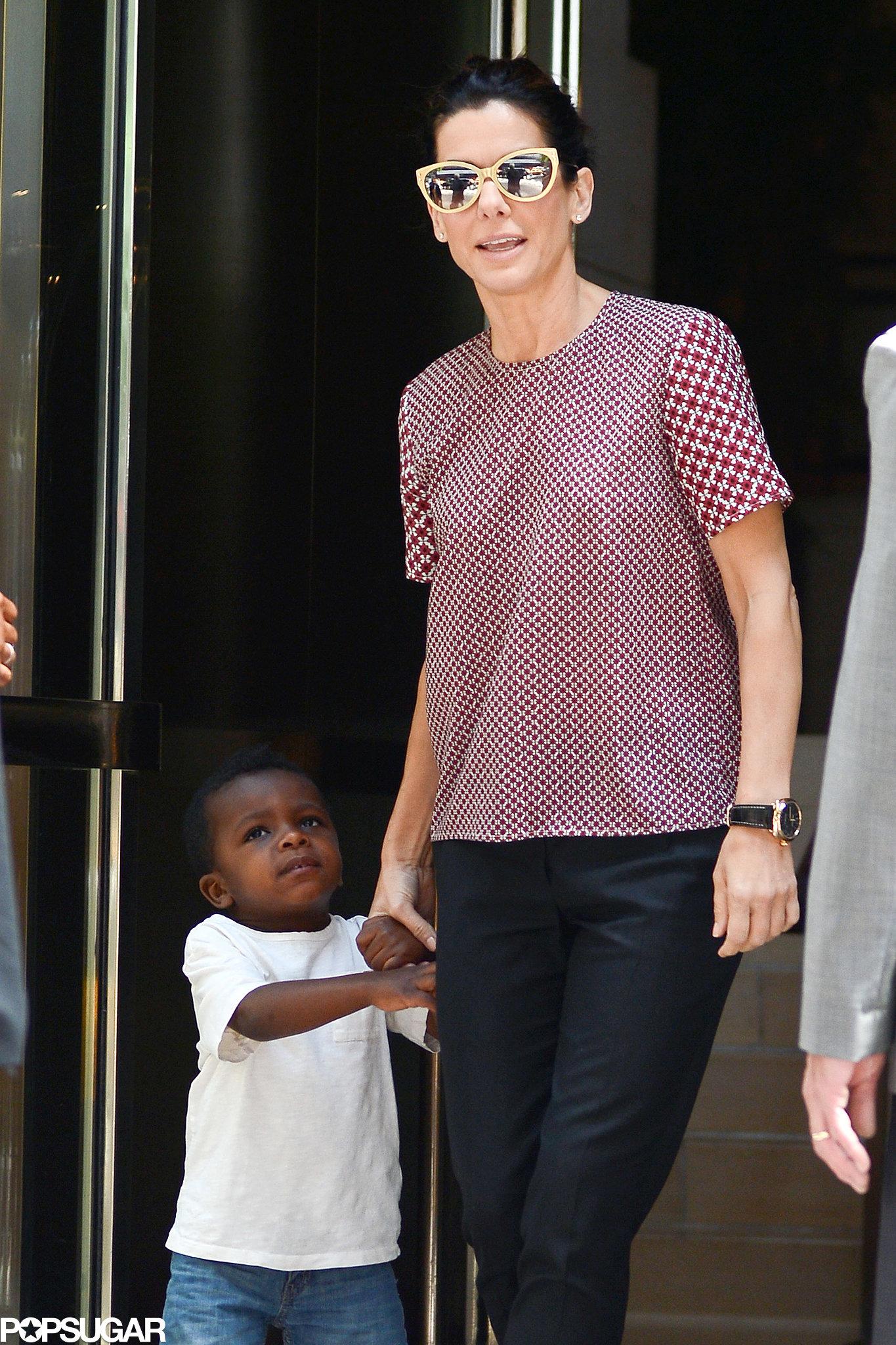 Sandra Bullock Breaks From Press For Lunch With Little Louis