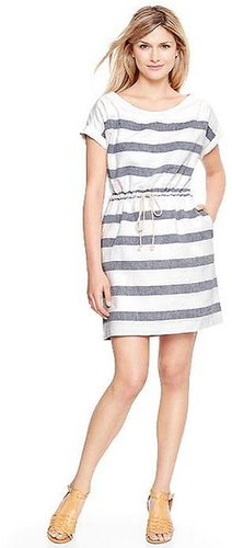 Wide-stripe linen T-shirt dress