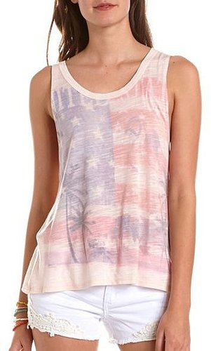 Twist-Back American Flag Graphic Tank