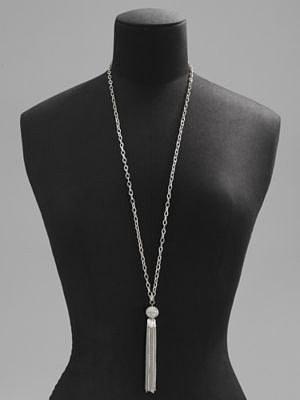 Silvertone Long Tassel Pendant Necklace