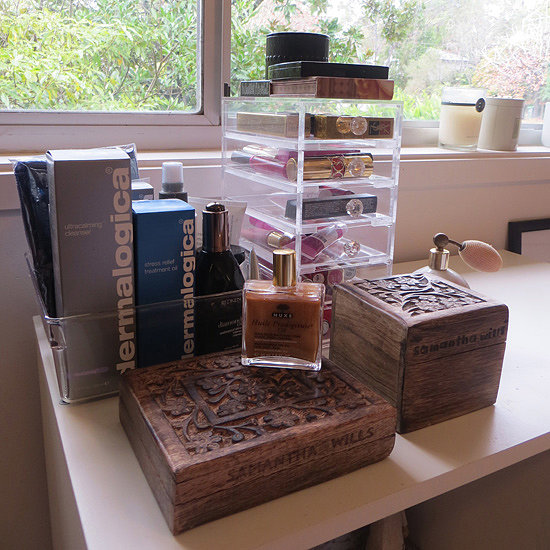 Jewellery is a mild obsession, and I like to dot it all around the place so I don't always fall back on the same pieces. These Samantha Wills boxes hold meaninful little pieces, like friendship bracelets from overseas, and the jewellery my boyfriend has given me. Behind the jewellery, my skincare prods sit in a perspex tray from Howard's Storage World, while my lipsticks have a home in this Makeup Box Shop lipstick tower. I could go on and on about my feelings for the tower, but I won't.