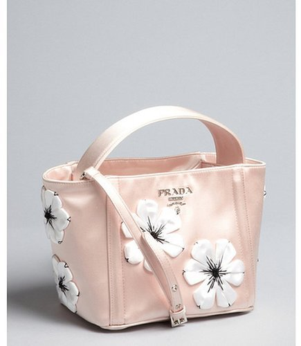Prada orchid and white satin flower detail convertible tote