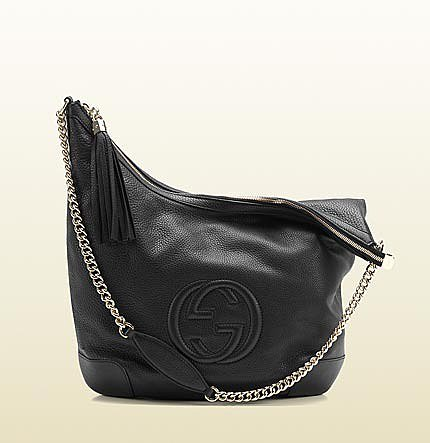Soho Black Leather Shoulder Bag With Chain Strap