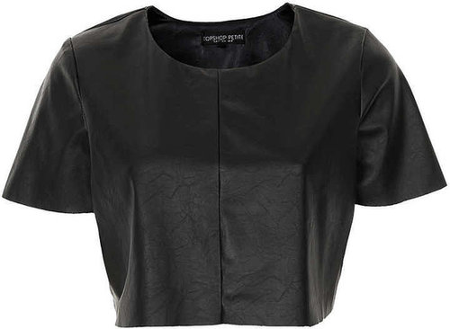 Petite Leather Look Crop Top