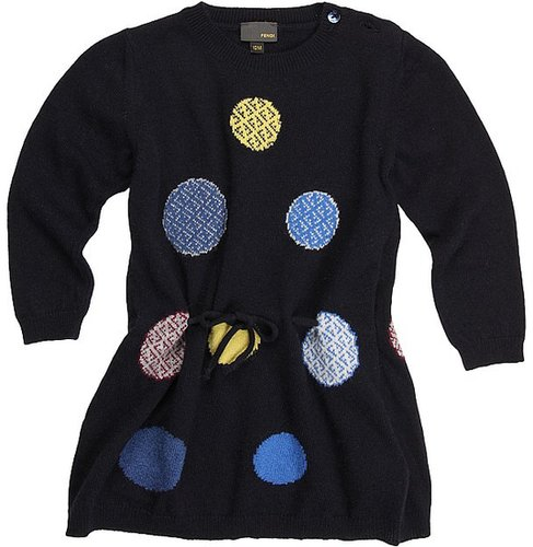 Fendi Kids - Baby L/S Knit Dress (Infant/Toddler) (Navy) - Apparel
