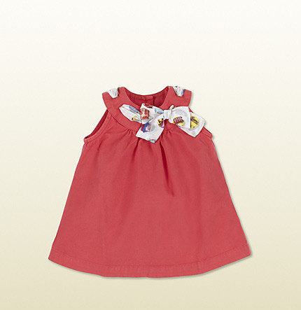 Watermelon Cotton Sleeveless Dress With Gucci Cupcakes Print Detail