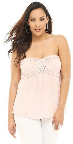 Pink Cheetah Studded Strapless Top
