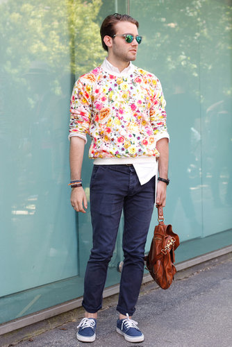 Pep up classic trousers with a floral tee — if this guy can do it, so can you.