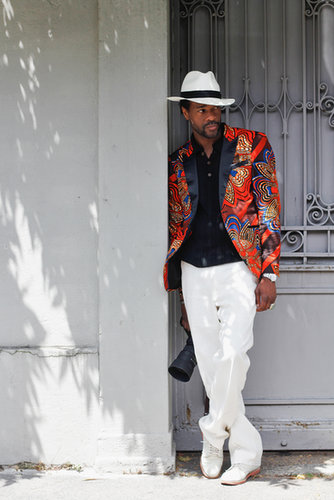We'd take styling cues from this gent any day, from his bright blazer to his Summer-perfect panama hat.