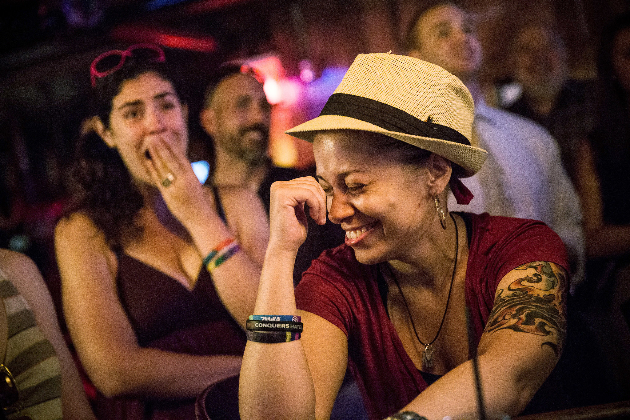 In an NYC bar, backers smiled after hearing the key gay marriage rulings on Wednesday.