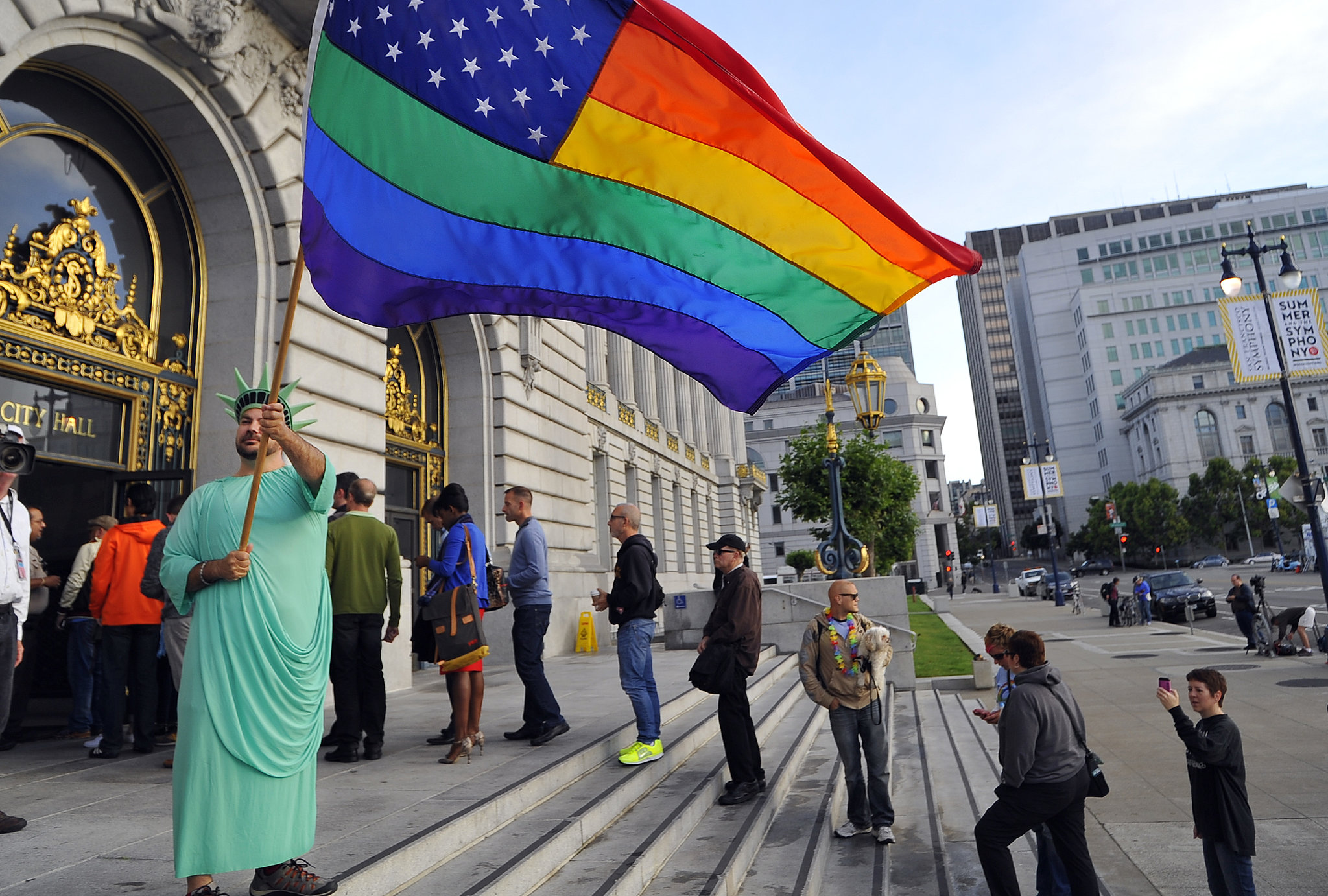 People lined up outside SF City Hall on Wednesday.