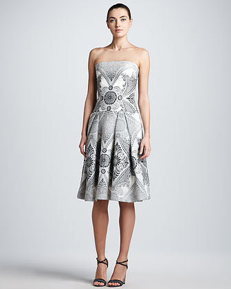 Carolina Herrera Strapless Baroque Damask Dress, Black/Ivory