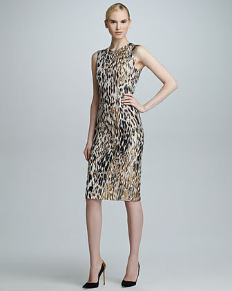 Carolina Herrera Animal Jacquard Sleeveless Sheath Dress