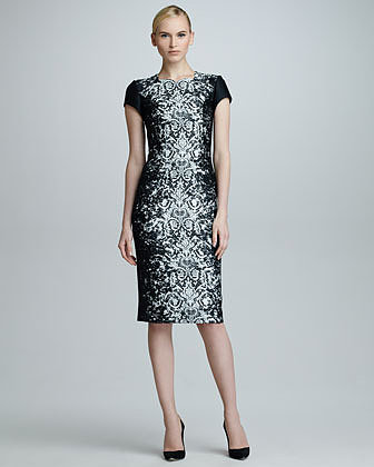 Carolina Herrera Abstract Lace Jacquard Dress, Black/Off-White