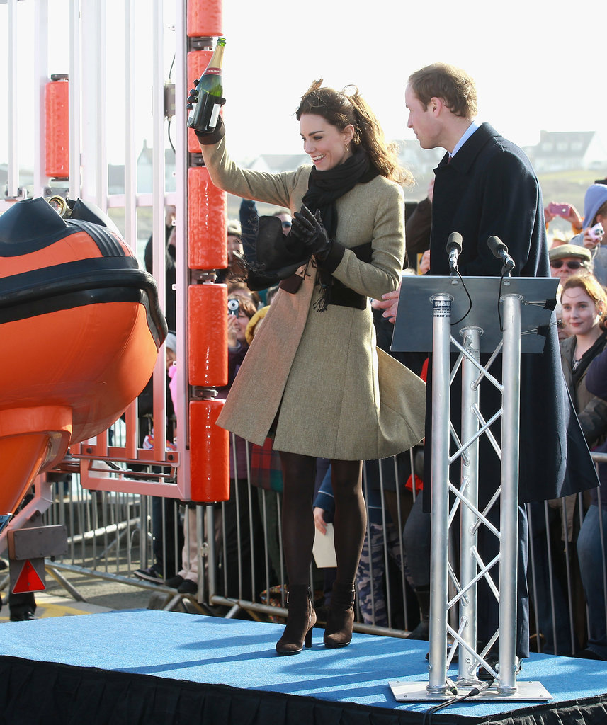 Kate Middleton made her first official royal appearance in February 2011 when she christened a lifeboat in Wales with Prince William.