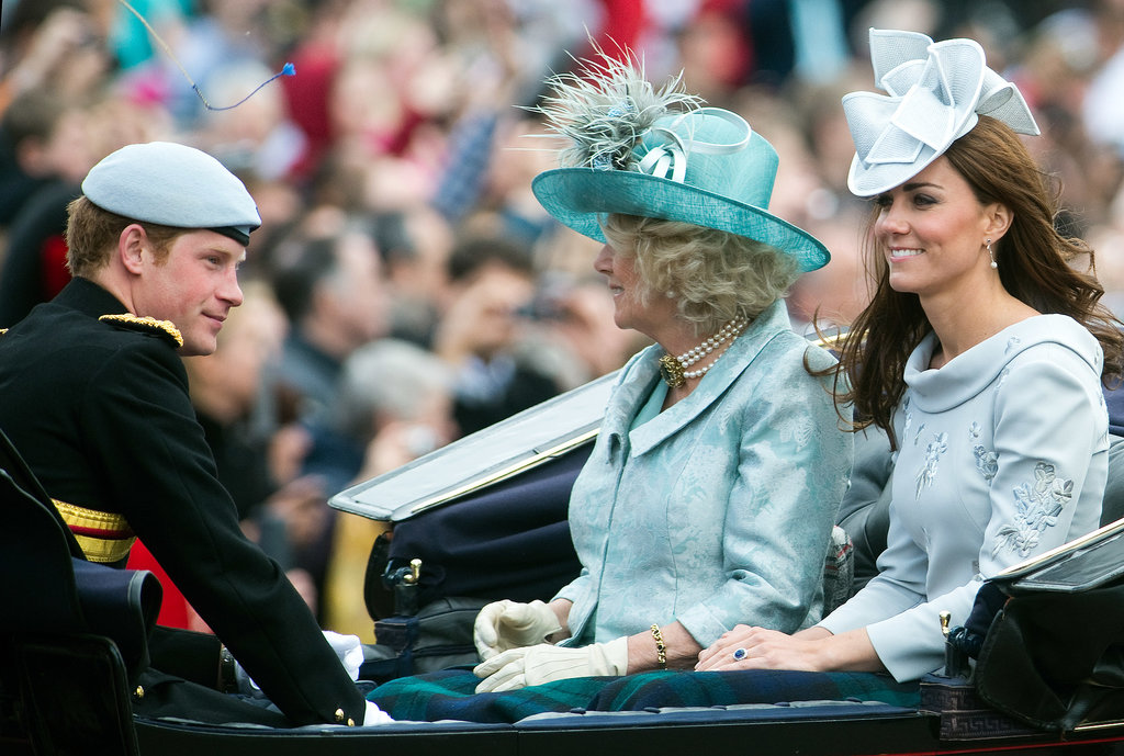Kate sat with Harry and Camilla while riding with the June 2012 Trooping the Colour parade in London.