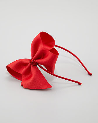 Bari Lynn Grosgrain Rhinestone Headband, Red