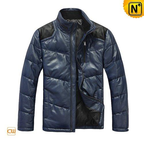 Blue Down Leather Jacket Men CW874122 - cwmalls.com