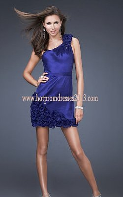 Indigo One Shoulder Fabric Rosettes Short Dresses Discount