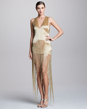 Naeem Khan Sequined Fringe Dress