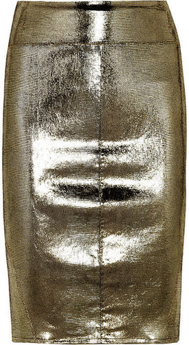 Faith Connexion Metallic snake-effect stretch-leather skirt