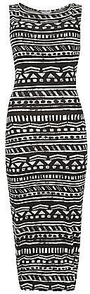 Monochrome Aztec Stripe Sleeveless Midi Dress