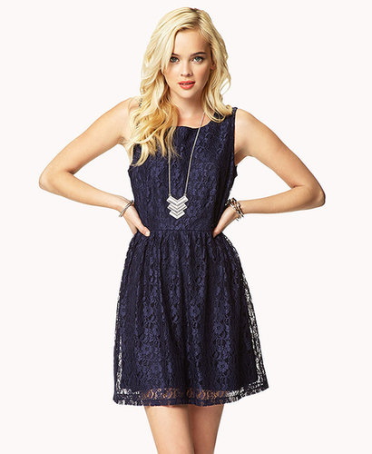 FOREVER 21 Pleated Sleeveless Lace Dress