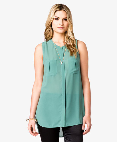 LOVE 21 Pleated Patch Pocket Tunic
