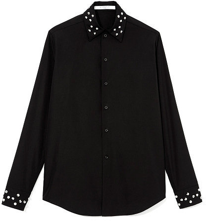 Givenchy Cotton Button Up Shirt With Embellished Collar And Cuffs