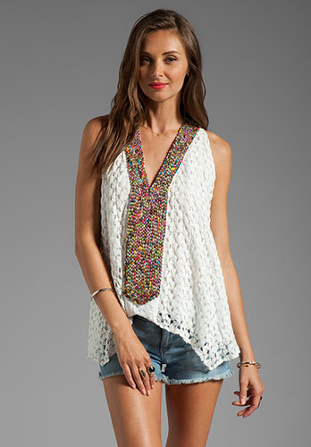 T-Bags LosAngeles Embroidered Crochet Tank