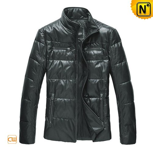 Mens Blue Leather Down Jacket CW831805 - cwmalls.com